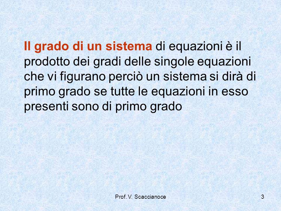 Il grado di un sistema di equazioni è il prodotto dei gradi delle singole equazioni che vi figurano perciò un sistema si dirà di primo grado se tutte