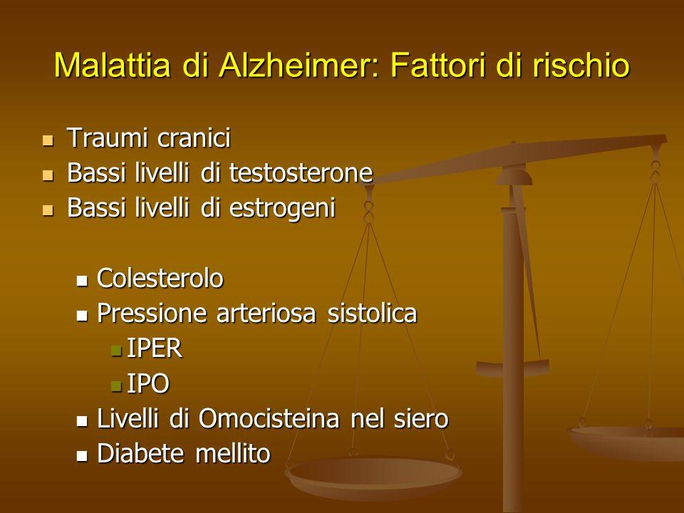 Malattia di Alzheimer: Fattori di rischio Traumi cranici Traumi cranici Bassi livelli di testosterone Bassi livelli di testosterone Bassi livelli di e