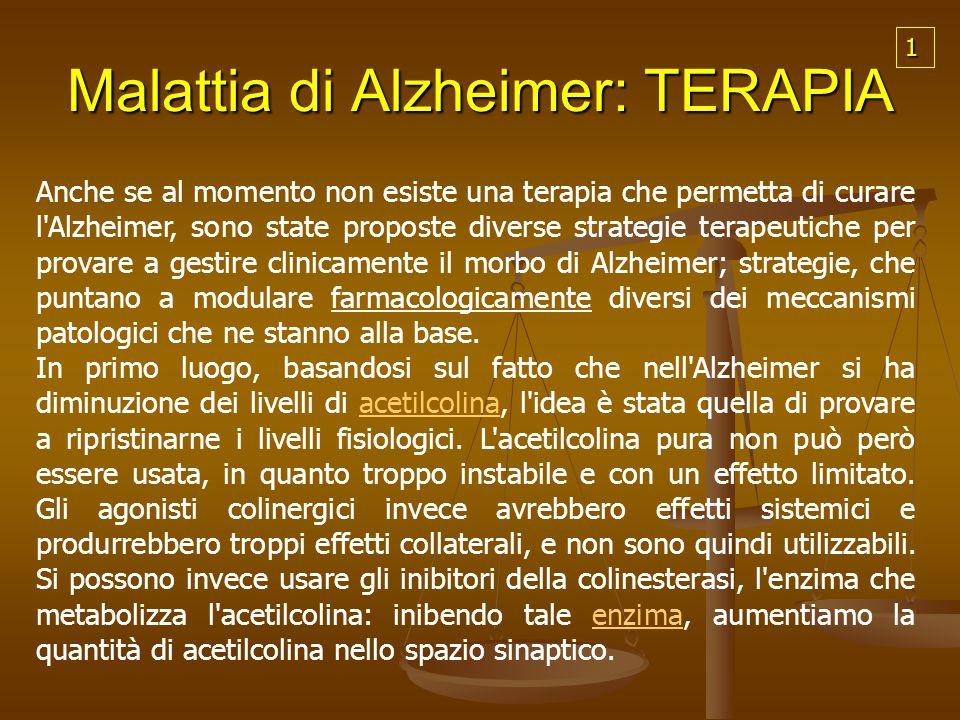 Malattia di Alzheimer: TERAPIA Anche se al momento non esiste una terapia che permetta di curare l'Alzheimer, sono state proposte diverse strategie te
