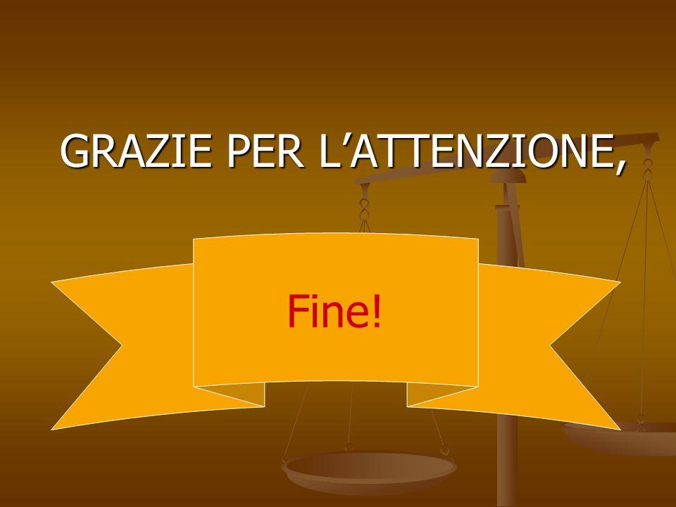 GRAZIE PER L'ATTENZIONE, GRAZIE PER L'ATTENZIONE, Fine!