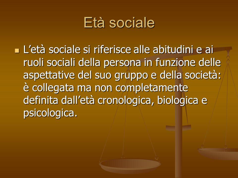 Età sociale L'età sociale si riferisce alle abitudini e ai ruoli sociali della persona in funzione delle aspettative del suo gruppo e della società: è