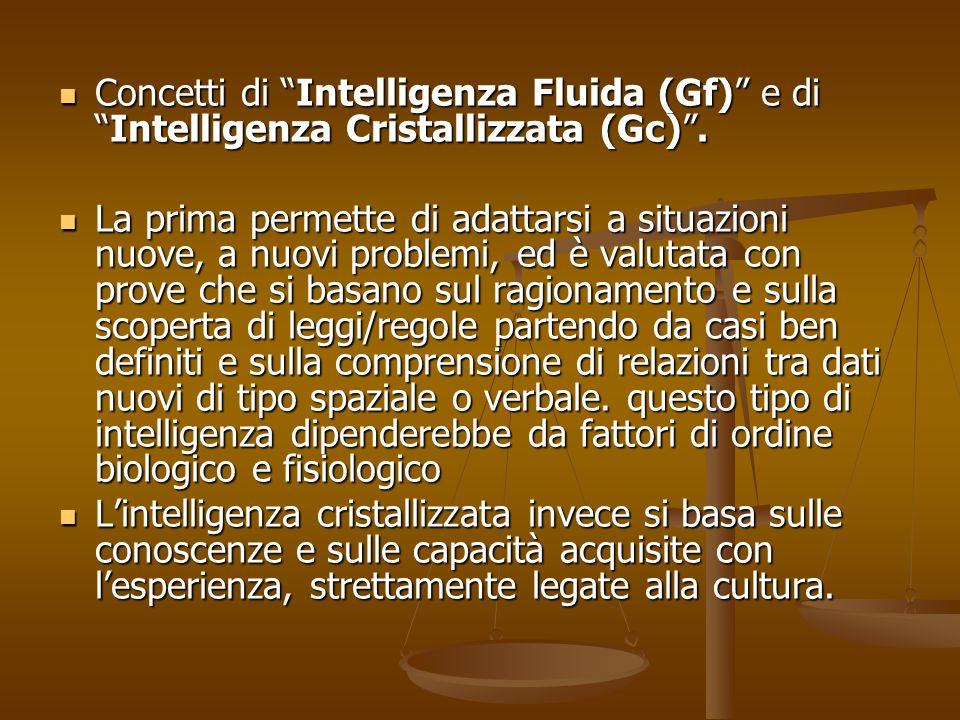 """Concetti di """"Intelligenza Fluida (Gf)"""" e di """"Intelligenza Cristallizzata (Gc)"""". Concetti di """"Intelligenza Fluida (Gf)"""" e di """"Intelligenza Cristallizza"""