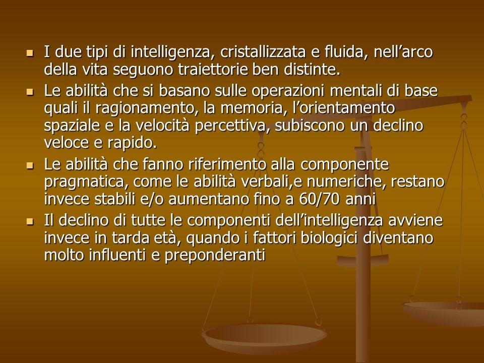 I due tipi di intelligenza, cristallizzata e fluida, nell'arco della vita seguono traiettorie ben distinte. I due tipi di intelligenza, cristallizzata