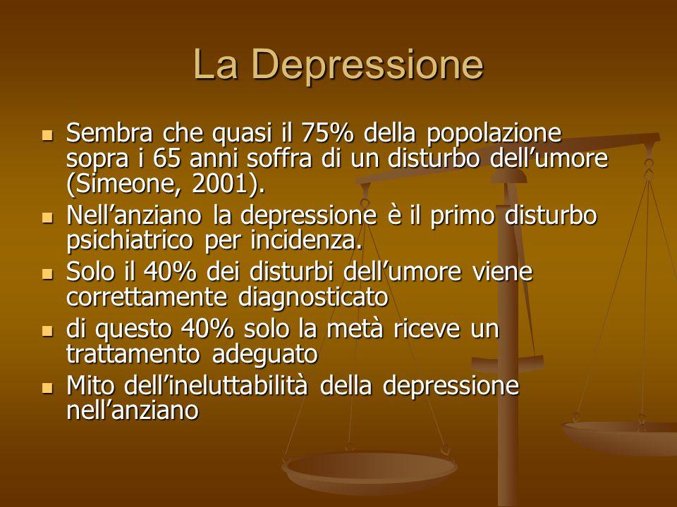 La Depressione Sembra che quasi il 75% della popolazione sopra i 65 anni soffra di un disturbo dell'umore (Simeone, 2001). Sembra che quasi il 75% del