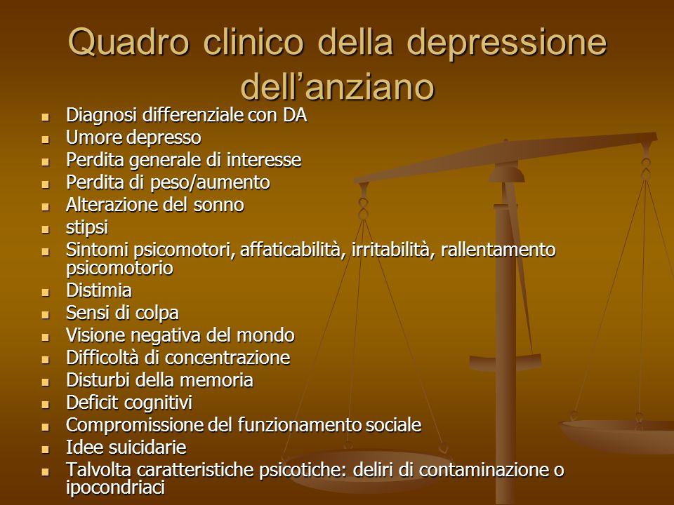 Quadro clinico della depressione dell'anziano Diagnosi differenziale con DA Diagnosi differenziale con DA Umore depresso Umore depresso Perdita genera