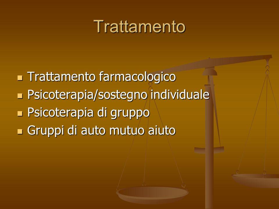 Trattamento Trattamento farmacologico Trattamento farmacologico Psicoterapia/sostegno individuale Psicoterapia/sostegno individuale Psicoterapia di gr