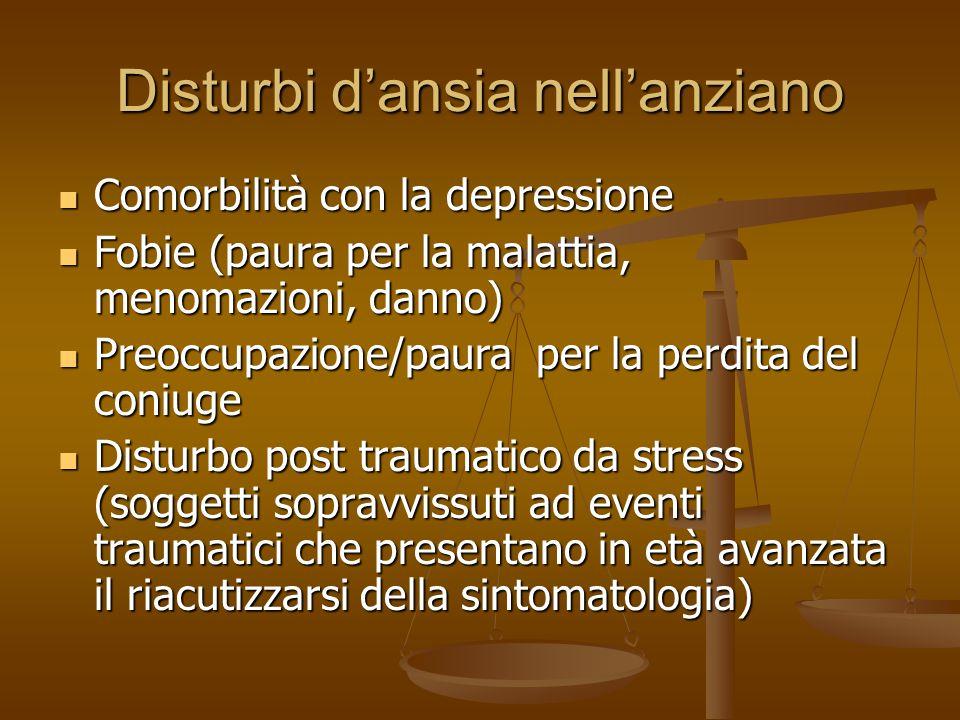 Disturbi d'ansia nell'anziano Comorbilità con la depressione Comorbilità con la depressione Fobie (paura per la malattia, menomazioni, danno) Fobie (p