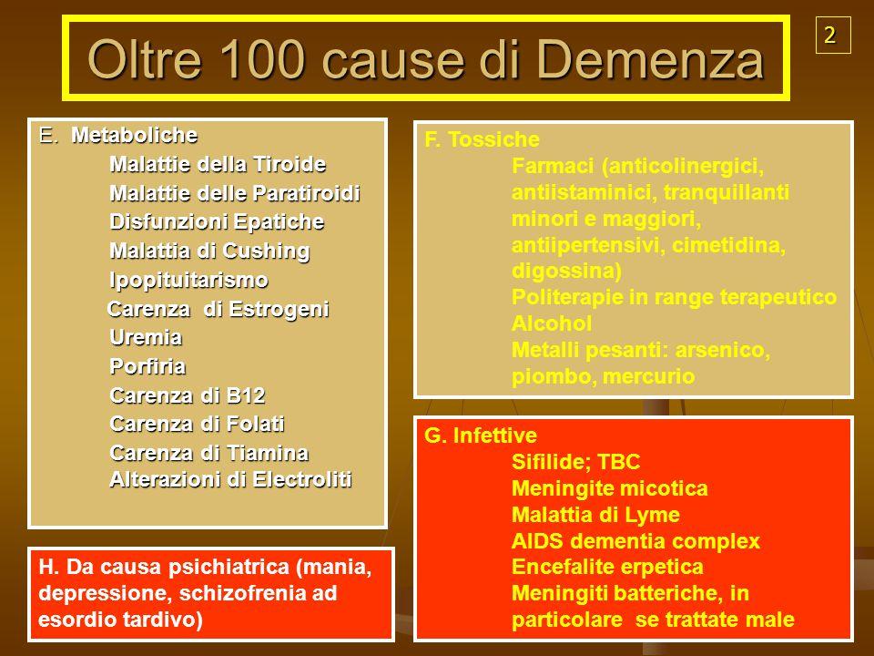 E. Metaboliche Malattie della Tiroide Malattie delle Paratiroidi Disfunzioni Epatiche Malattia di Cushing Ipopituitarismo Ipopituitarismo Carenza di E