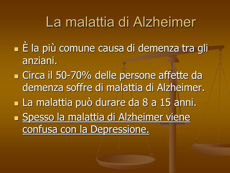 La malattia di Alzheimer La malattia di Alzheimer È la più comune causa di demenza tra gli anziani. È la più comune causa di demenza tra gli anziani.