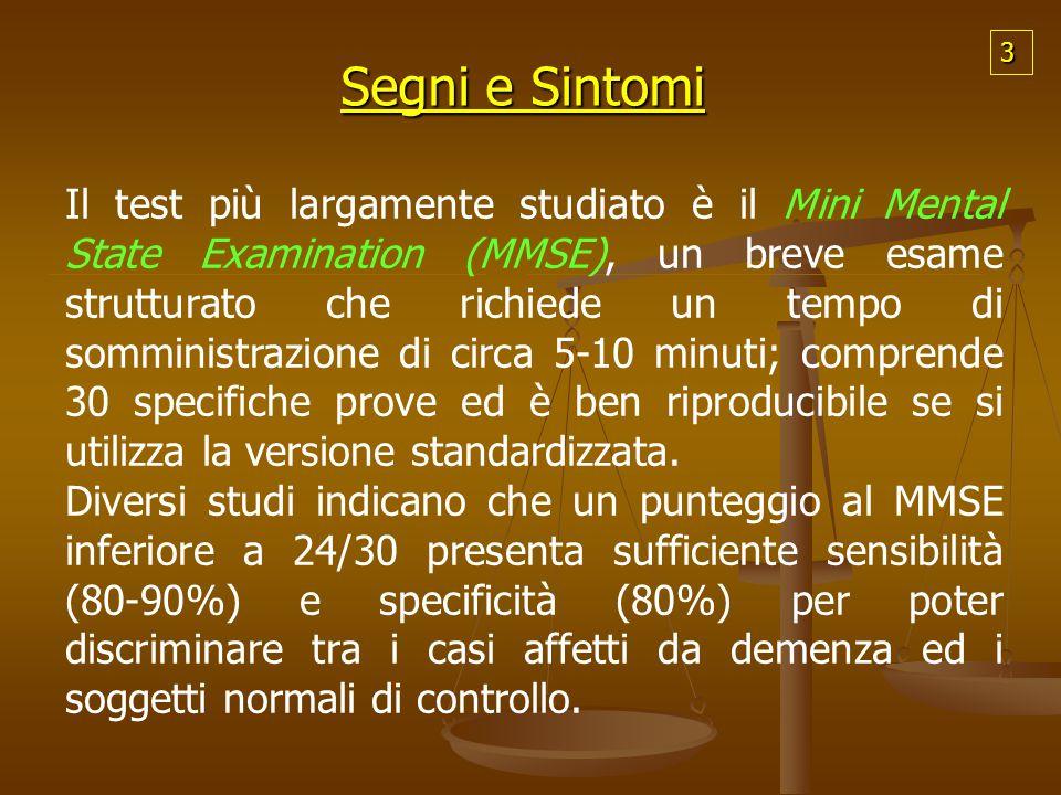 Segni e Sintomi Il test più largamente studiato è il Mini Mental State Examination (MMSE), un breve esame strutturato che richiede un tempo di sommini
