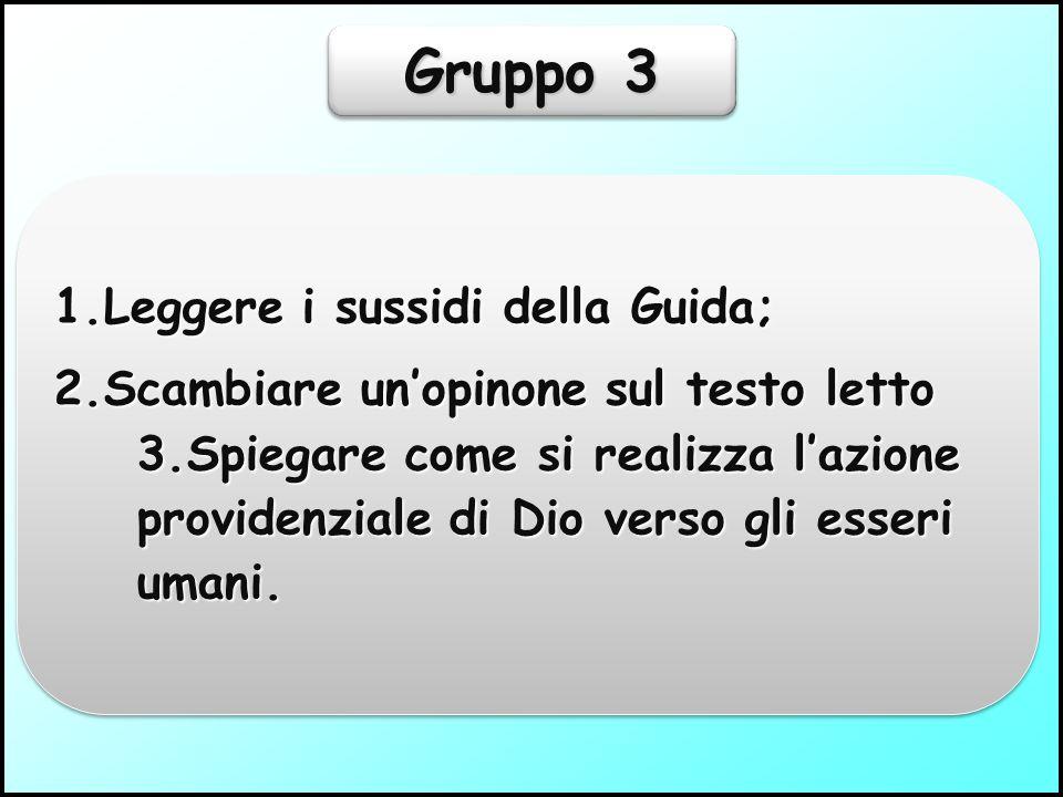 Gruppo 2 1.Leggere i sussidi della Guida; 2.Scambiare l'opinione del testo letto; 3.Spiegare come si manifesta l'azione provvidenziale di Dio tra gli esseri inferiori della creazione.
