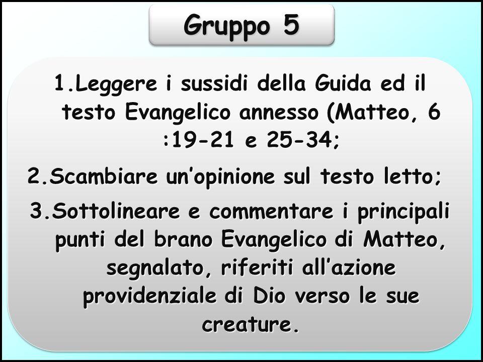 Gruppo 4 1.Leggere i sussidi della Guida; 2.Scambiare un'opinione sul testo letto; 3.Spiegare il modo con il quale procedere per usufruire dei benefici della Providenza Divina.