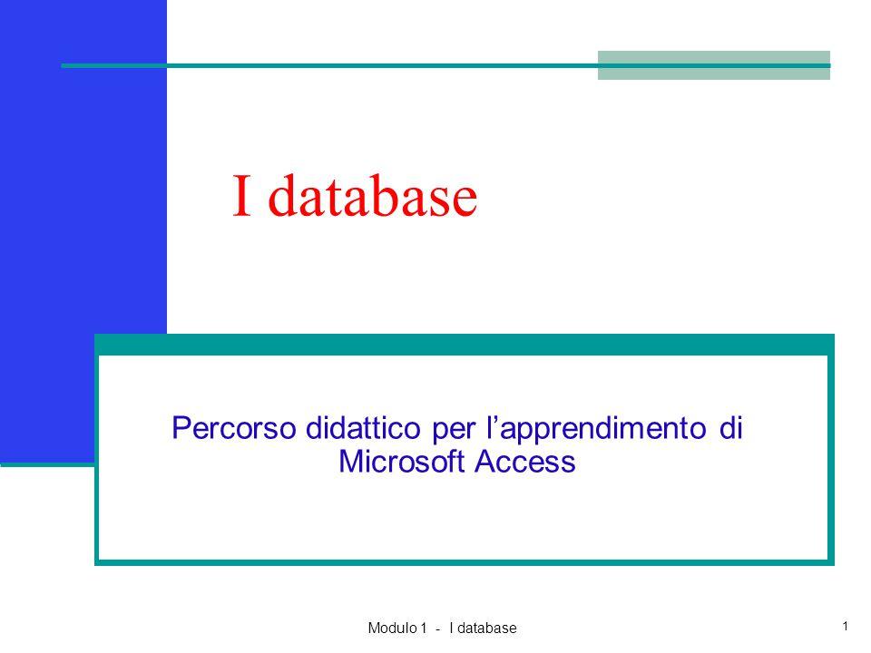 Modulo 1 - I database 1 I database Percorso didattico per l'apprendimento di Microsoft Access