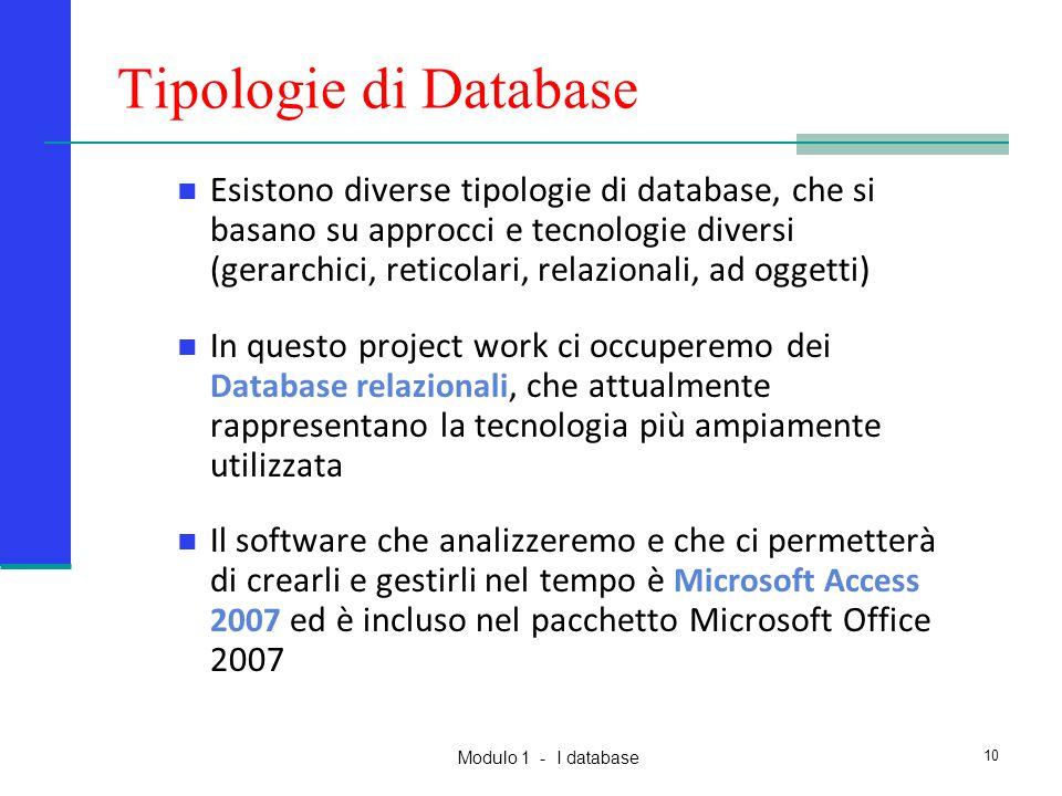 Modulo 1 - I database 10 Tipologie di Database Esistono diverse tipologie di database, che si basano su approcci e tecnologie diversi (gerarchici, ret