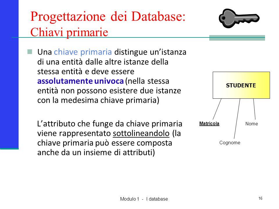 Modulo 1 - I database 16 Una chiave primaria distingue un'istanza di una entità dalle altre istanze della stessa entità e deve essere assolutamente un