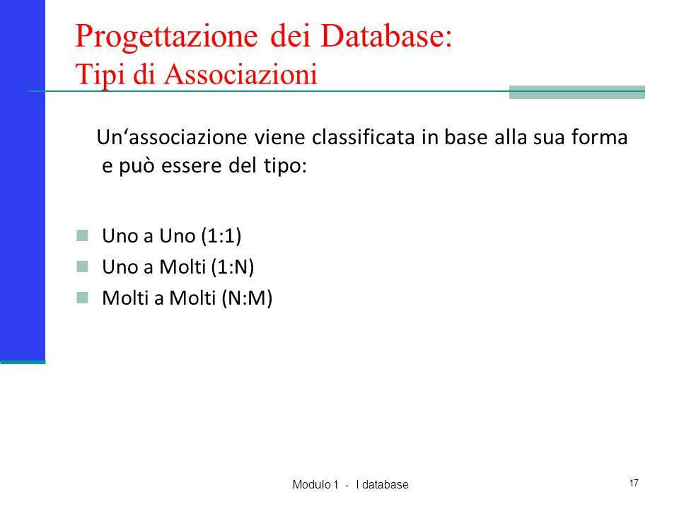 Modulo 1 - I database 17 Un'associazione viene classificata in base alla sua forma e può essere del tipo: Uno a Uno (1:1) Uno a Molti (1:N) Molti a Mo