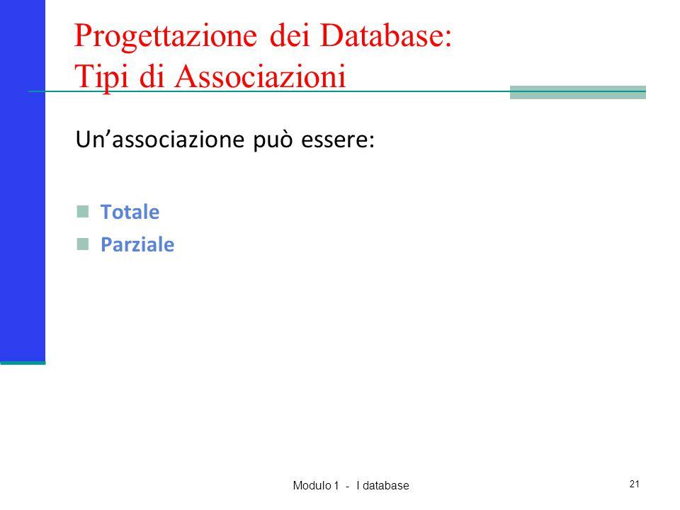 Modulo 1 - I database 21 Un'associazione può essere: Totale Parziale Progettazione dei Database: Tipi di Associazioni