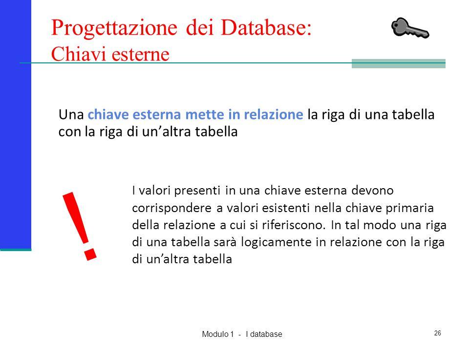 Modulo 1 - I database 26 Una chiave esterna mette in relazione la riga di una tabella con la riga di un'altra tabella Progettazione dei Database: Chia
