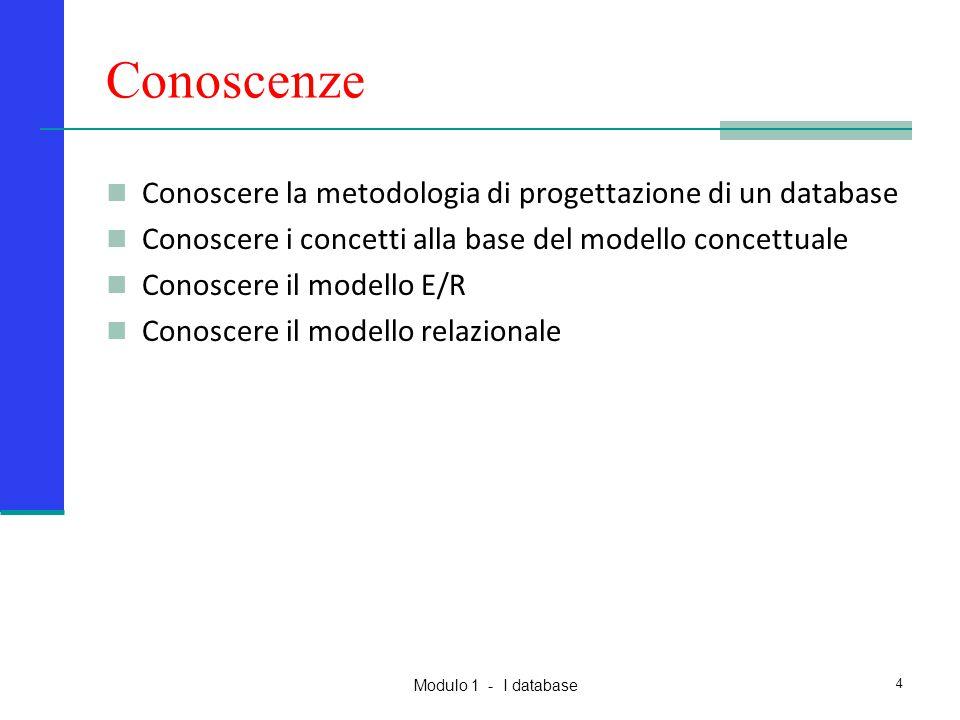Modulo 1 - I database 4 Conoscenze Conoscere la metodologia di progettazione di un database Conoscere i concetti alla base del modello concettuale Con