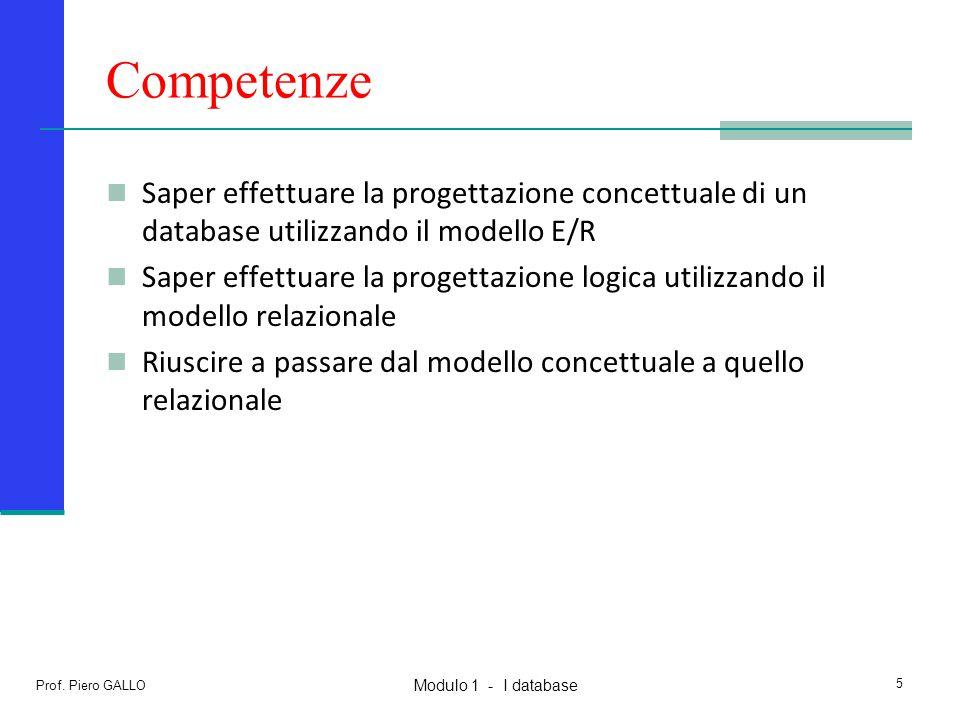 Modulo 1 - I database Prof. Piero GALLO 5 Competenze Saper effettuare la progettazione concettuale di un database utilizzando il modello E/R Saper eff