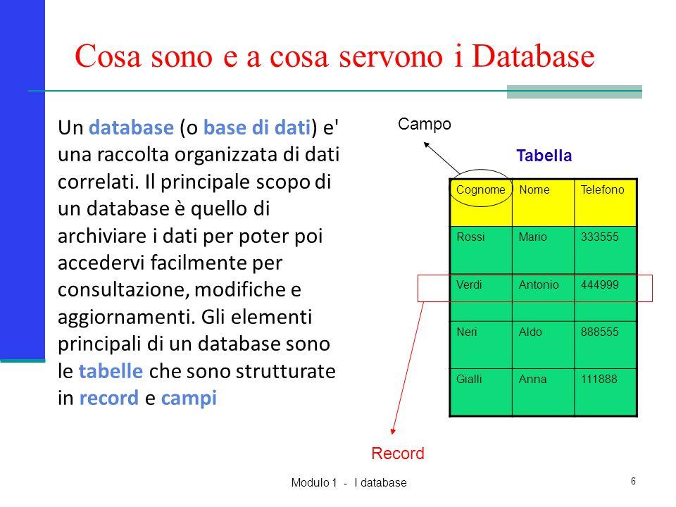 Modulo 1 - I database 6 Cosa sono e a cosa servono i Database Un database (o base di dati) e' una raccolta organizzata di dati correlati. Il principal