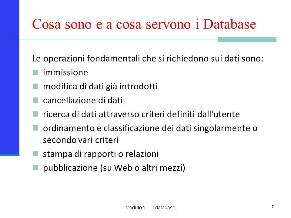 Modulo 1 - I database 7 Cosa sono e a cosa servono i Database Le operazioni fondamentali che si richiedono sui dati sono: immissione modifica di dati
