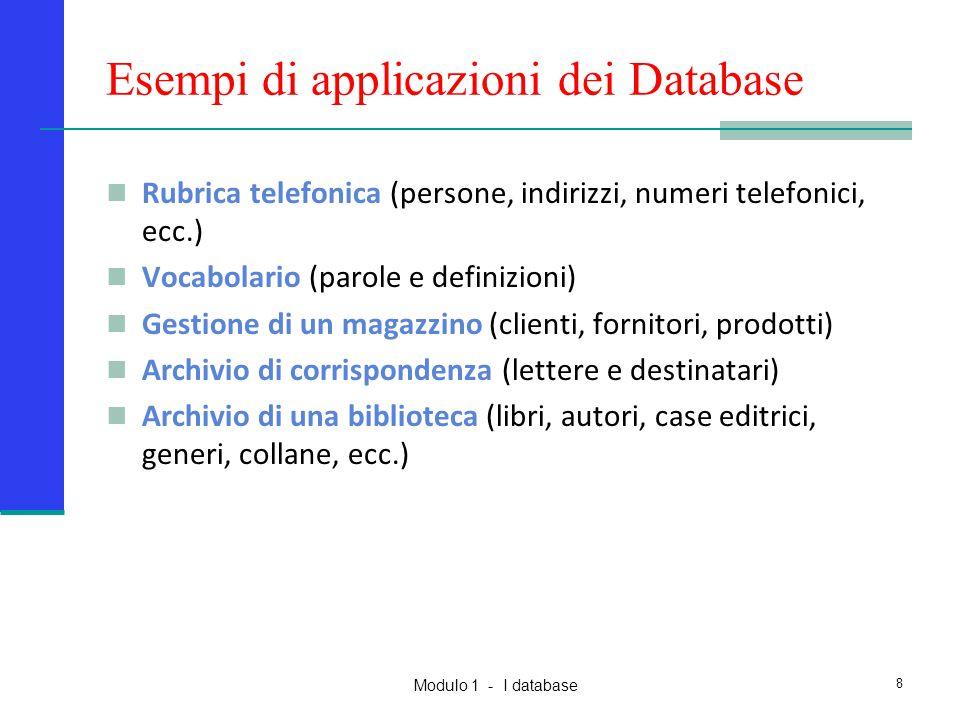 Modulo 1 - I database 8 Esempi di applicazioni dei Database Rubrica telefonica (persone, indirizzi, numeri telefonici, ecc.) Vocabolario (parole e def