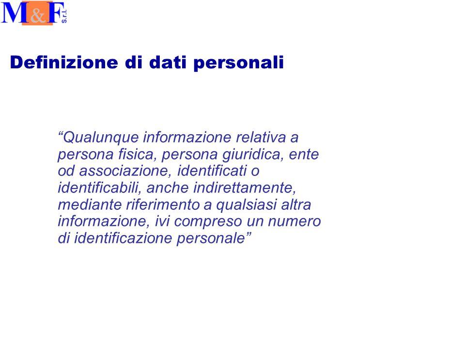 Definizione di dati personali Qualunque informazione relativa a persona fisica, persona giuridica, ente od associazione, identificati o identificabili, anche indirettamente, mediante riferimento a qualsiasi altra informazione, ivi compreso un numero di identificazione personale