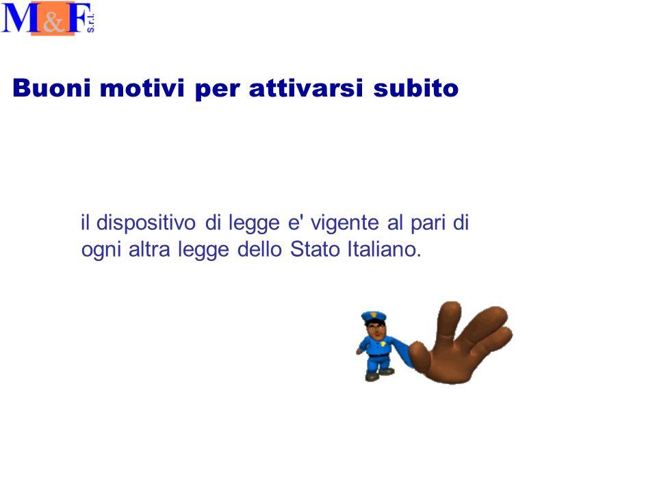 Buoni motivi per attivarsi subito il dispositivo di legge e vigente al pari di ogni altra legge dello Stato Italiano.