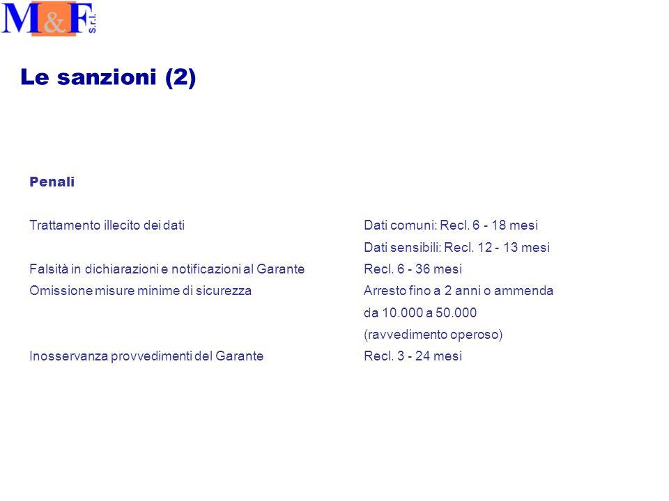 Le sanzioni (2) Penali Trattamento illecito dei datiDati comuni: Recl.