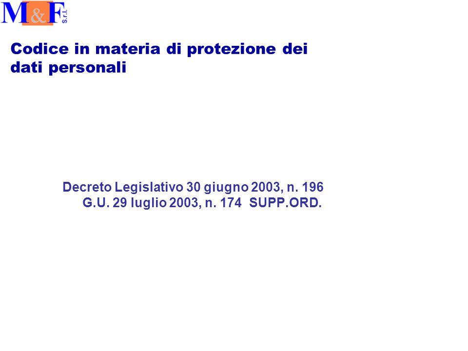 Codice in materia di protezione dei dati personali Decreto Legislativo 30 giugno 2003, n.