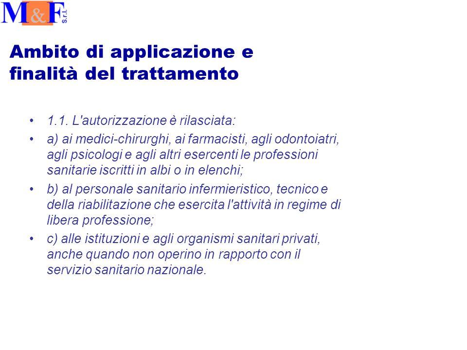 Ambito di applicazione e finalità del trattamento 1.1.