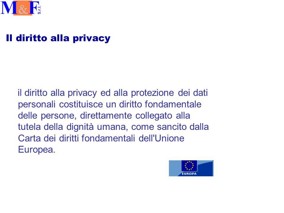 Il diritto alla privacy il diritto alla privacy ed alla protezione dei dati personali costituisce un diritto fondamentale delle persone, direttamente collegato alla tutela della dignità umana, come sancito dalla Carta dei diritti fondamentali dell Unione Europea.