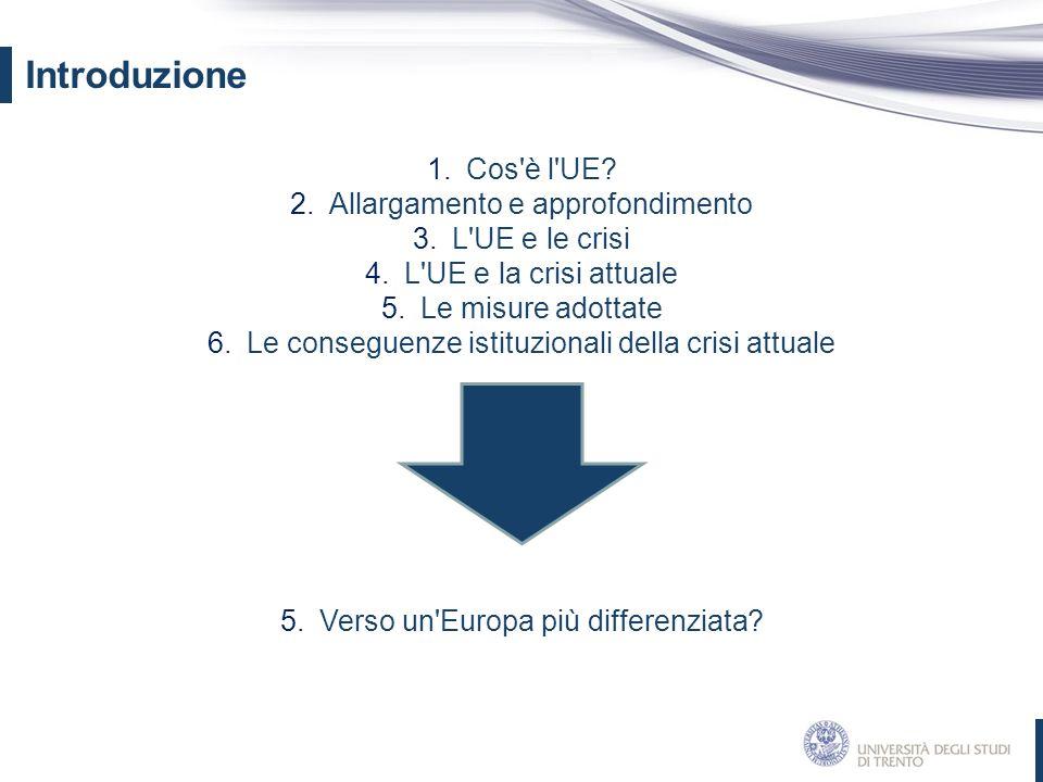 1.Cos'è l'UE? 2.Allargamento e approfondimento 3.L'UE e le crisi 4.L'UE e la crisi attuale 5.Le misure adottate 6.Le conseguenze istituzionali della c