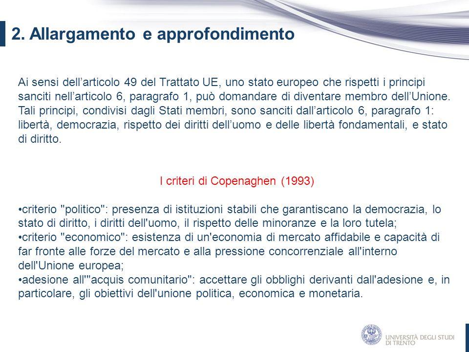 2. Allargamento e approfondimento Ai sensi dell'articolo 49 del Trattato UE, uno stato europeo che rispetti i principi sanciti nell'articolo 6, paragr