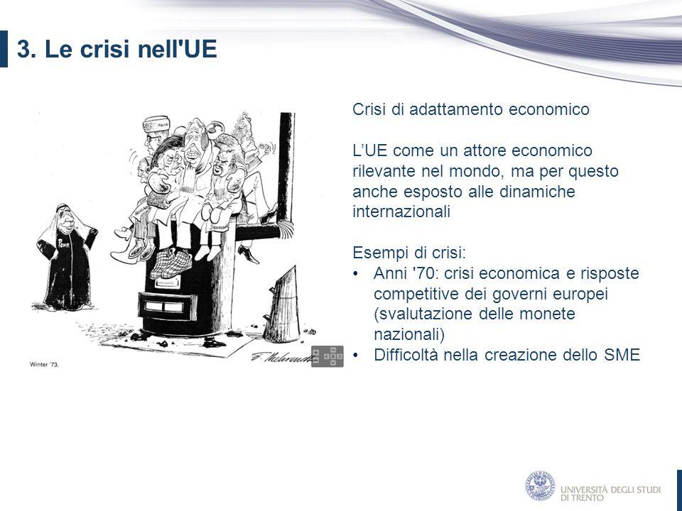 Crisi di adattamento economico L'UE come un attore economico rilevante nel mondo, ma per questo anche esposto alle dinamiche internazionali Esempi di