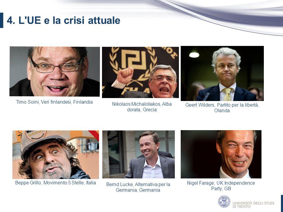 4. L'UE e la crisi attuale Geert Wilders, Partito per la libertà, Olanda Timo Soini, Veri finlandesi, Finlandia Nigel Farage, UK Independence Party, G