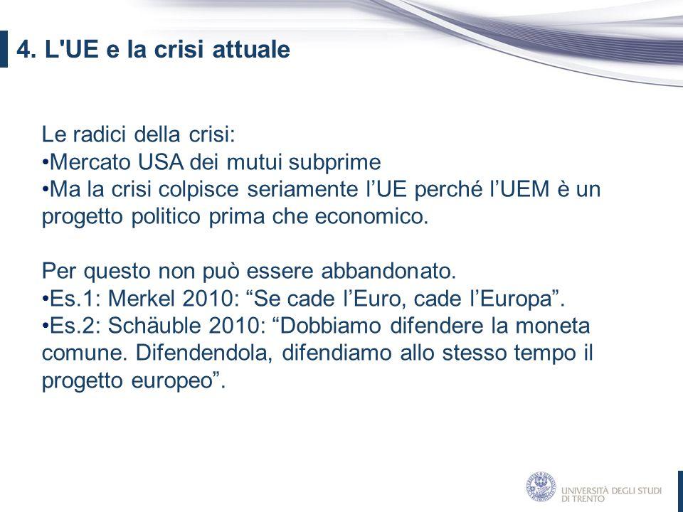 Le radici della crisi: Mercato USA dei mutui subprime Ma la crisi colpisce seriamente l'UE perché l'UEM è un progetto politico prima che economico. Pe