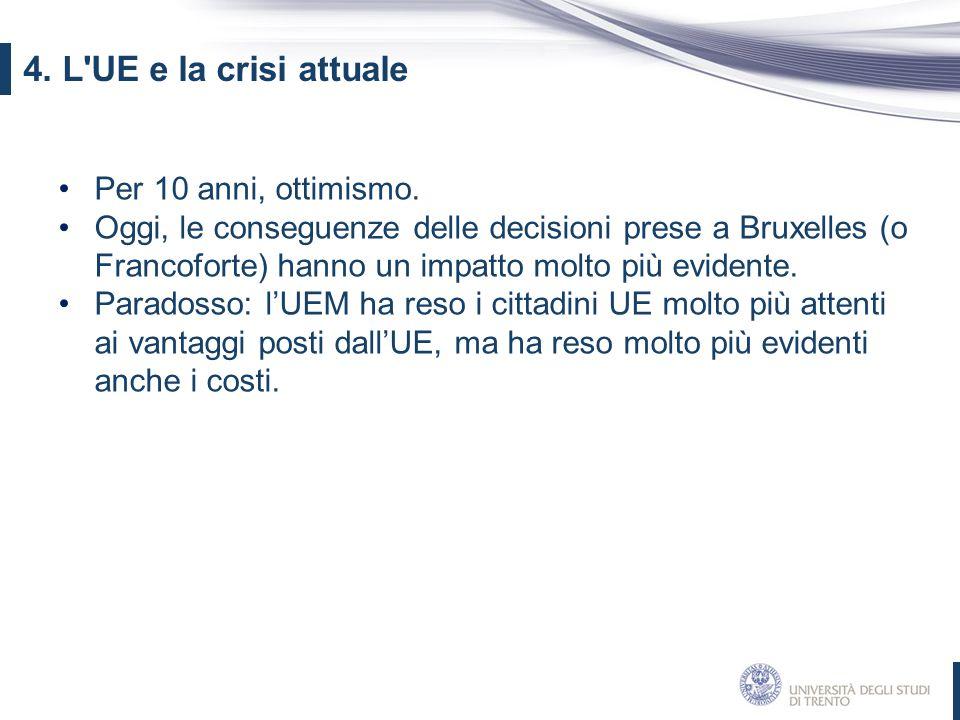 Per 10 anni, ottimismo. Oggi, le conseguenze delle decisioni prese a Bruxelles (o Francoforte) hanno un impatto molto più evidente. Paradosso: l'UEM h