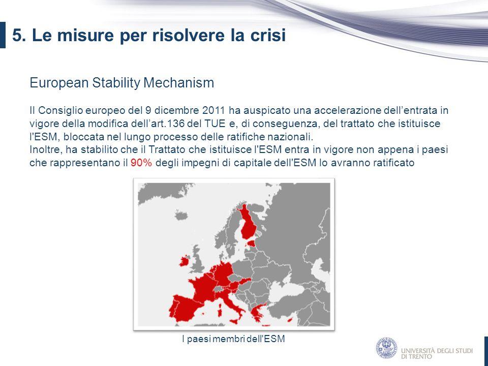European Stability Mechanism Il Consiglio europeo del 9 dicembre 2011 ha auspicato una accelerazione dell'entrata in vigore della modifica dell'art.13