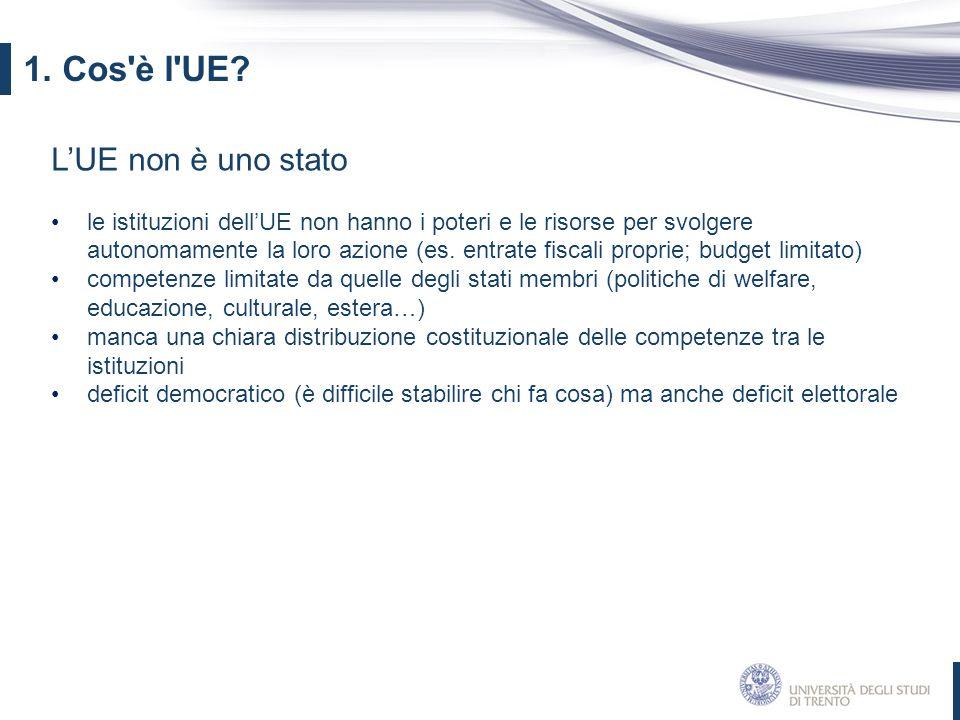 L'UE non è uno stato le istituzioni dell'UE non hanno i poteri e le risorse per svolgere autonomamente la loro azione (es. entrate fiscali proprie; bu