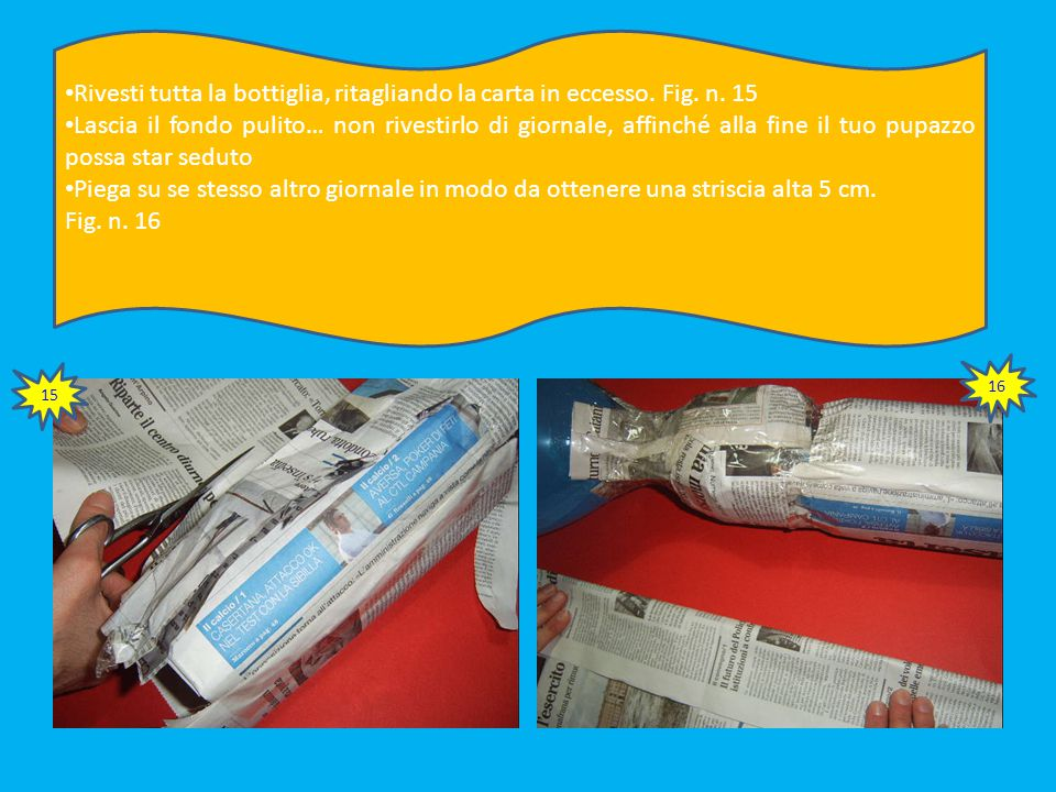 La striscia di giornale dovrebbe misurare 13 cm di lunghezza Misura altri 17 cm di lunghezza di giornale, che userai per rivestire la parte bassa. Fig