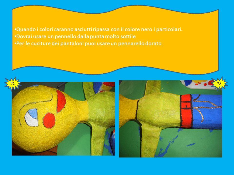 69 Colora anche la base e il retro delle scarpe sollevando le gambe Per fare un buon lavoro dai una passata di colore a tutta la struttura.