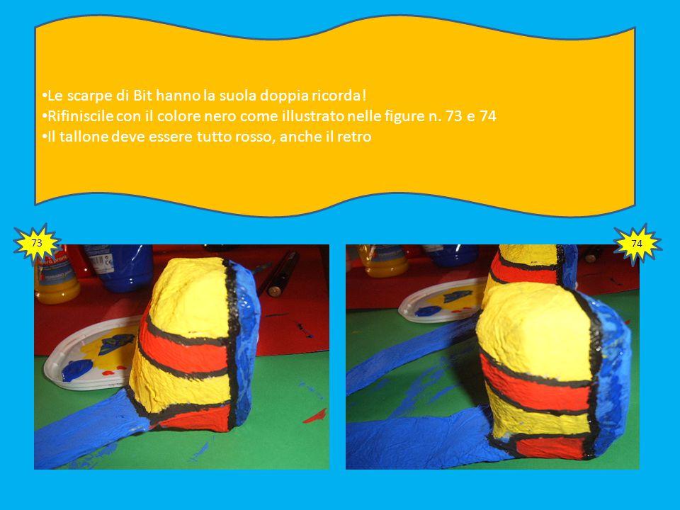 71 Quando i colori saranno asciutti ripassa con il colore nero i particolari. Dovrai usare un pennello dalla punta molto sottile Per le cuciture dei p