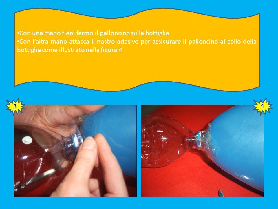 Gonfia un palloncino. Accertati che il diametro sia più largo della bottiglia Taglia tante strisce di nastro adesivo per attaccare il palloncino alla