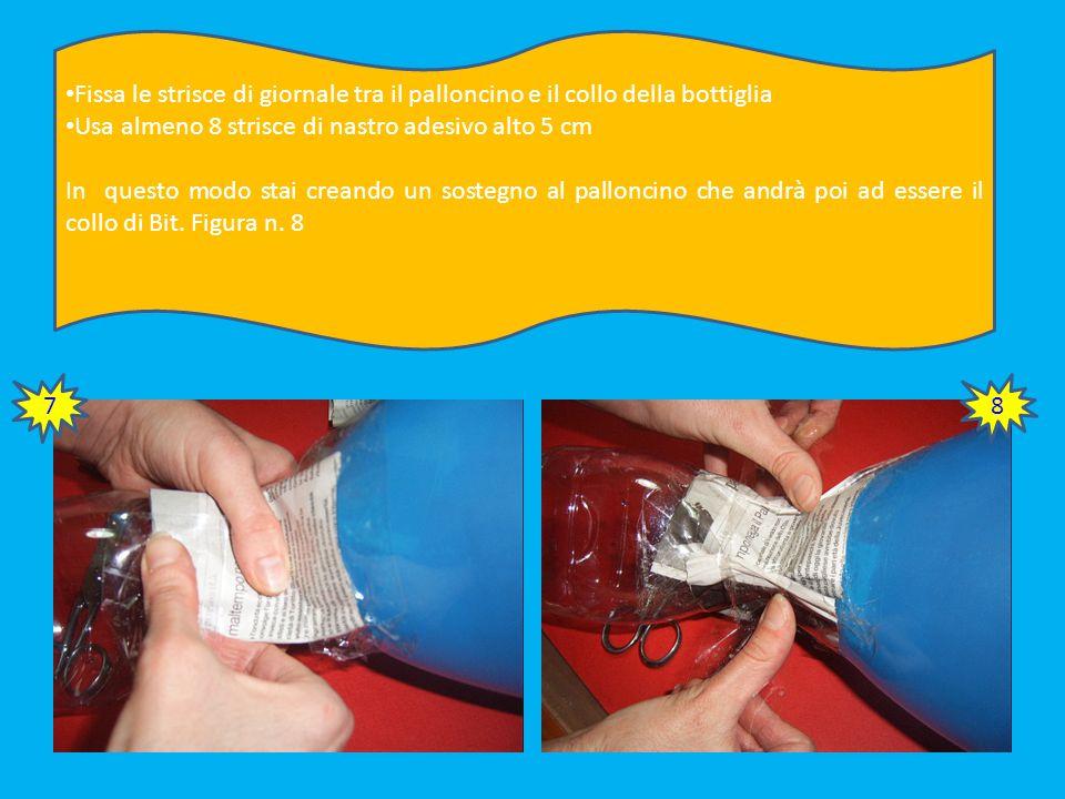 Fissa le strisce di giornale tra il palloncino e il collo della bottiglia Usa almeno 8 strisce di nastro adesivo alto 5 cm In questo modo stai creando un sostegno al palloncino che andrà poi ad essere il collo di Bit.