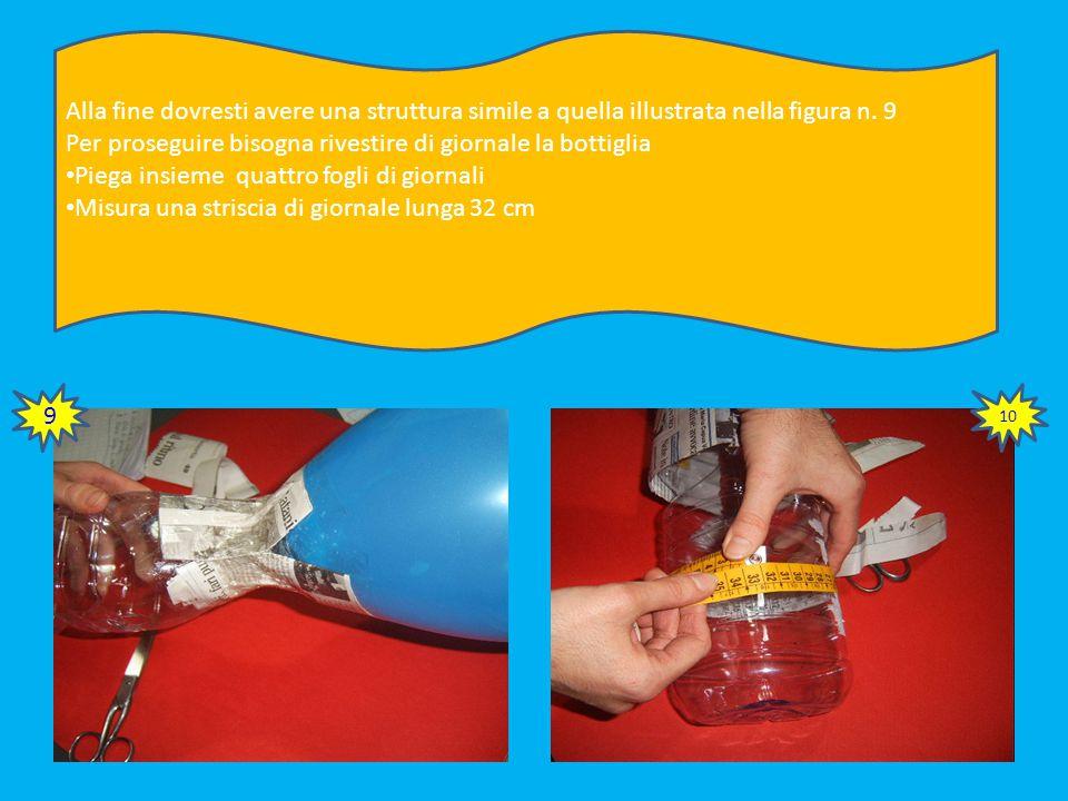 Fissa le strisce di giornale tra il palloncino e il collo della bottiglia Usa almeno 8 strisce di nastro adesivo alto 5 cm In questo modo stai creando