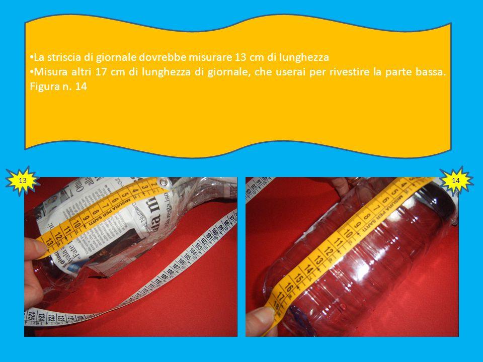 Rivesti la parte superiore della bottiglia con la striscia di giornale ritagliata, ancorandola al collo della struttura. Figura n. 11 Fissa poi con na
