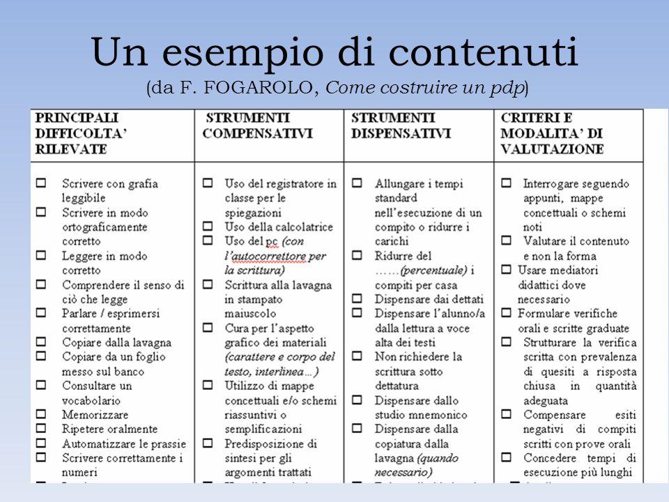 Un esempio di contenuti (da F. FOGAROLO, Come costruire un pdp )