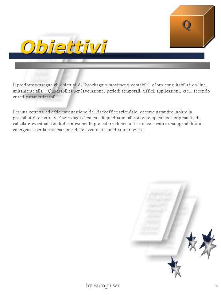 """by Europulsar3 Obiettivi Il prodotto persegue gli obiettivi di """"Stockaggio movimenti contabili"""" e loro consultabilità on-line, unitamente alla """"Quadra"""